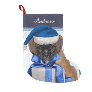 Weihnachtsboxer-Welpe personalisierter Strumpf Kleiner Weihnachtsstrumpf