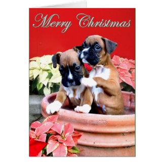 Weihnachtsboxerwelpen-Grußkarte Karte