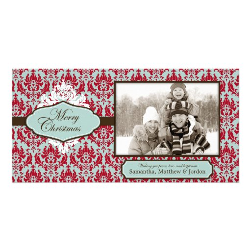 Weihnachtsbrokat-Retro Foto-Karte Fotogrußkarten