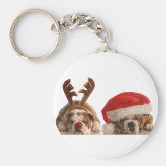 WEIHNACHTSbulldoggen-RUNDER FEIERTAG KEYCHAIN Schlüsselband