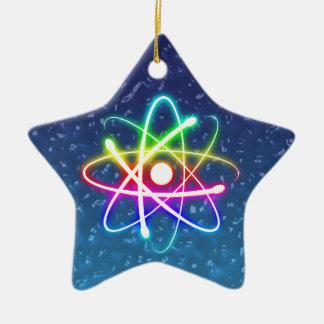 Weihnachtsbuntes glühendes Atom Keramik Ornament