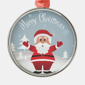 WeihnachtsCartoon-Sankt-Verzierung Silbernes Ornament