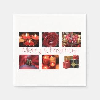 Weihnachtscollage im Rot Papierserviette