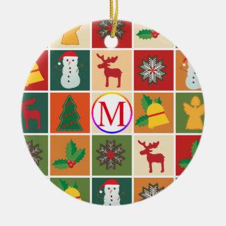 Weihnachtscollage mit Monogramm Keramik Ornament