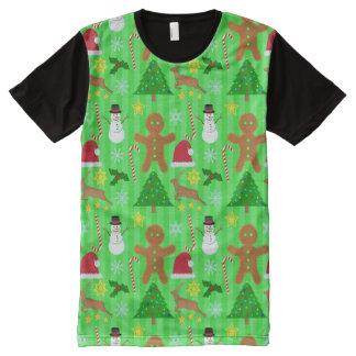 Weihnachtscollagen-Feiertags-Muster-hässliche T-Shirt Mit Bedruckbarer Vorderseite