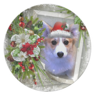 Weihnachtscorgi-Welpe im weißen Rahmen Teller