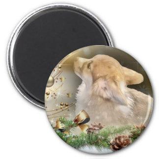 Weihnachtscorgi-Welpe Runder Magnet 5,1 Cm