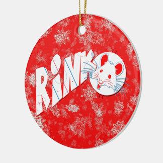Weihnachtsdekoration, Hockey-Eisbahnen-Ratte Rundes Keramik Ornament