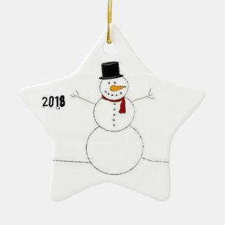 Weihnachtsdekoration mit Schneemann (2018) Keramik Ornament