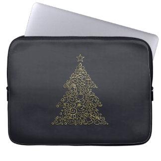 Weihnachtsdekorative Linie goldener Weihnachtsbaum Laptopschutzhülle