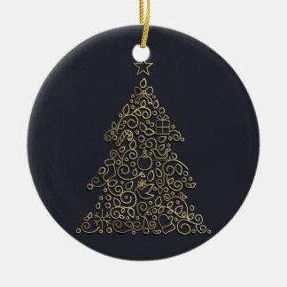 Weihnachtsdekorative Linie goldener Weihnachtsbaum Rundes Keramik Ornament