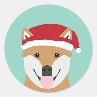Weihnachtsdoge-Aufkleber - Shiba Inu Weihnachten Runder Aufkleber
