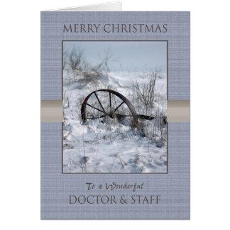 Weihnachtsdoktor und -personal grußkarte