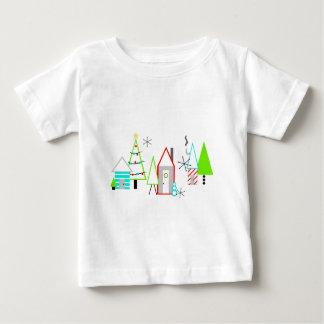 Weihnachtsdorfmitte des jahrhunderts modern baby t-shirt