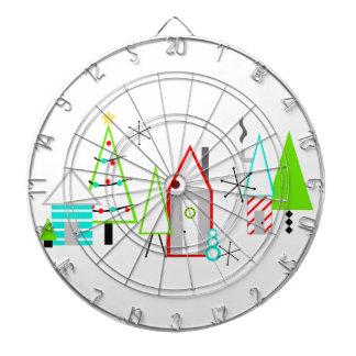Weihnachtsdorfmitte des jahrhunderts modern dartscheibe