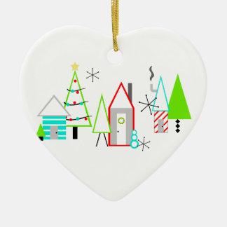 Weihnachtsdorfmitte des jahrhunderts modern keramik ornament