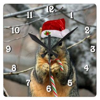Weihnachtseichhörnchen Quadratische Wanduhr