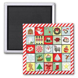 Weihnachtseinführungs-Kalender Quadratischer Magnet
