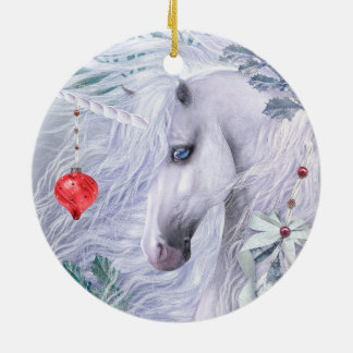 WeihnachtsEinhorn-Verzierung Keramik Ornament