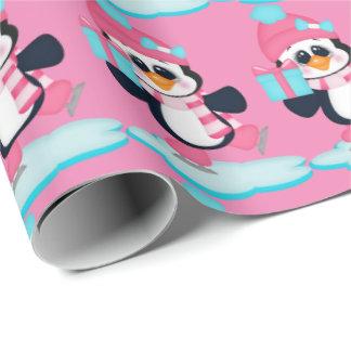 Weihnachtseis-Skaten Penguin-Verpackungspapier Geschenkpapier