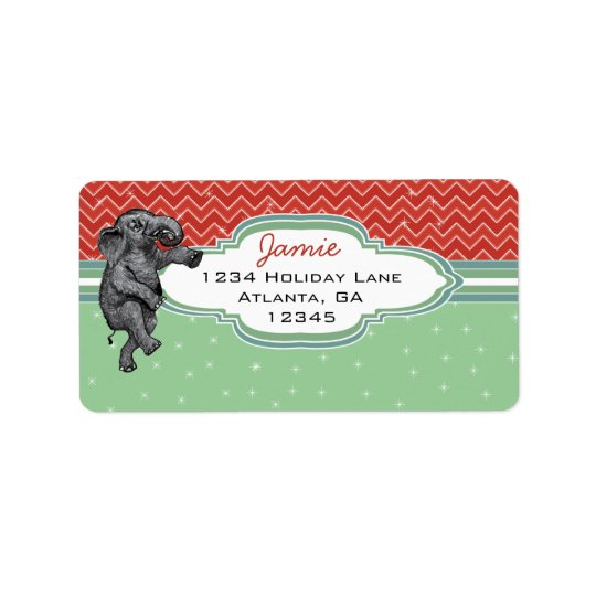 Weihnachtselefant-Zickzack-Muster-Rücksendeadresse Adressetikett