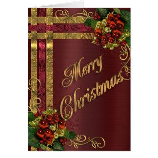 Weihnachtseleganz-Kartengold und rotes Grußkarte