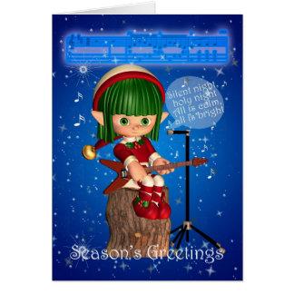 Weihnachtself, der stille Nacht singt Karte