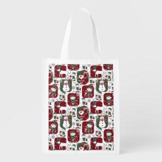 Weihnachtselfe u. -Schneemänner Wiederverwendbare Einkaufstasche