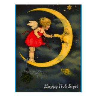 Weihnachtsengel, der Mann in der Mond-Nase klemmt Postkarte