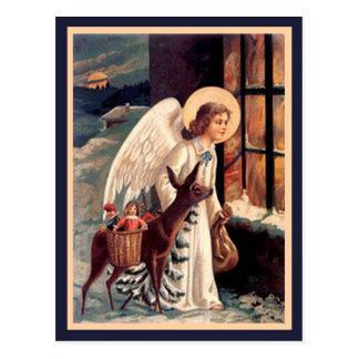 Weihnachtsengel mit Rotwild-Vintager Postkarte