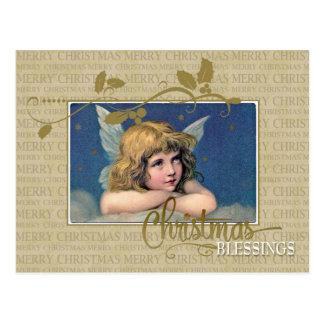 Weihnachtsengels-Vintage Wiedergabe-Postkarte Postkarte
