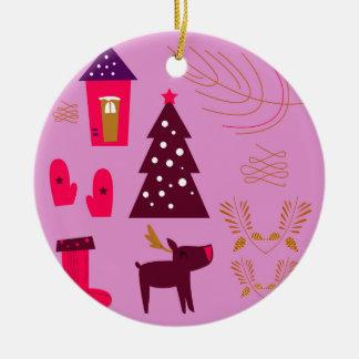 Weihnachtsentwurfs-Eibischrosa Keramik Ornament