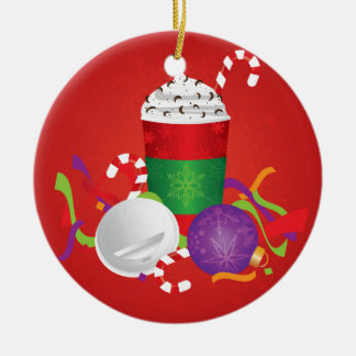 WeihnachtsEspresso-Getränk, zum zu gehen Schale Rundes Keramik Ornament