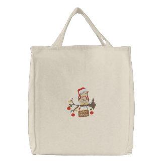 Weihnachtseule Bestickte Einkaufstasche