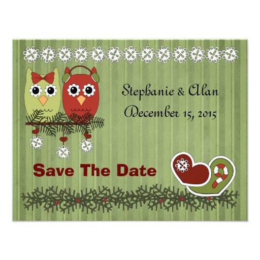 Weihnachtseulen-Save the Date Karten Ankündigungskarte
