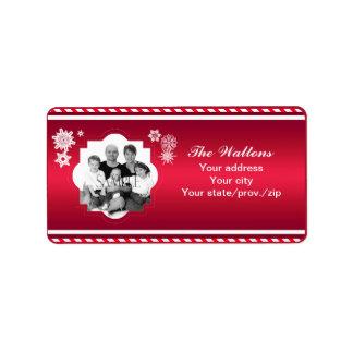 Weihnachtsfamilien-Foto-Rot-Streifen Adressetiketten