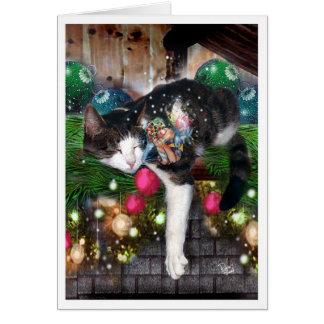 WeihnachtsFee und -katze Karte