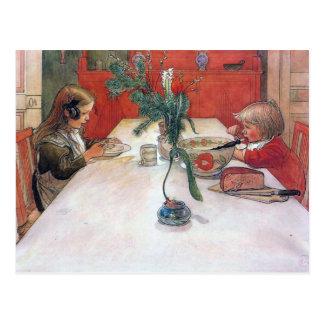 Weihnachtsfeiertags-Abends-Mahlzeit Karls Larsson Postkarte