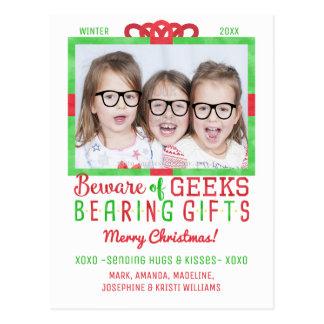 Weihnachtsfeiertags-Familien-Foto  lustige Geeks Postkarten