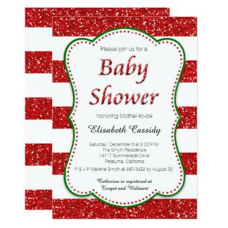 Weihnachtsfeiertags-Glitzer-Baby-Duschen-Einladung Karte