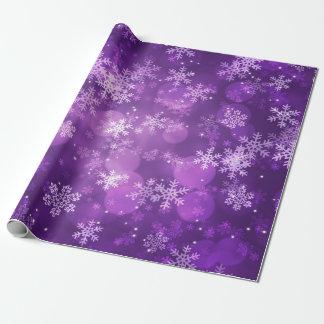 Weihnachtsfeiertags-Glitzern u. Schneeflocken lila Geschenkpapier