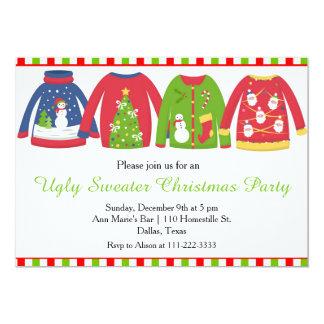 Weihnachtsfeiertags-hässliche Strickjacke-Pullover 12,7 X 17,8 Cm Einladungskarte