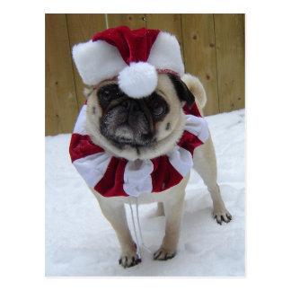 Weihnachtsfeiertags-Mops im Schnee Postkarte