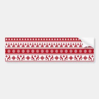 Weihnachtsfeiertags-nordisches Muster gemütlich Autoaufkleber