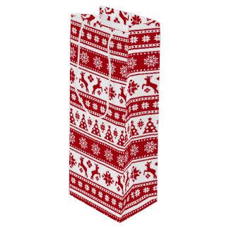 Weihnachtsfeiertags-nordisches Muster gemütlich Geschenktüte Für Weinflaschen