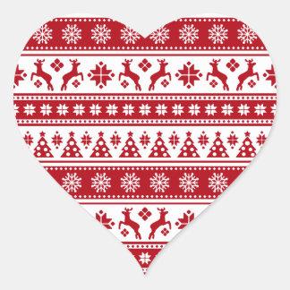 Weihnachtsfeiertags-nordisches Muster gemütlich Herz-Aufkleber
