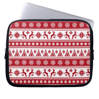 Weihnachtsfeiertags-nordisches Muster gemütlich Laptopschutzhülle