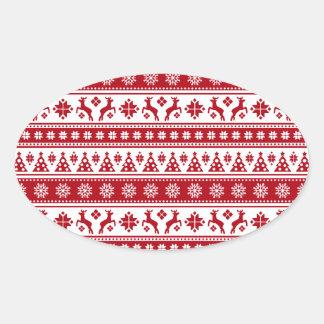Weihnachtsfeiertags-nordisches Muster gemütlich Ovaler Aufkleber
