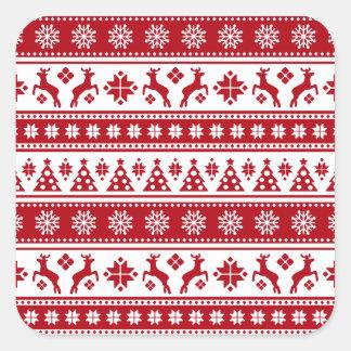 Weihnachtsfeiertags-nordisches Muster gemütlich Quadratischer Aufkleber
