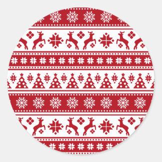 Weihnachtsfeiertags-nordisches Muster gemütlich Runder Aufkleber